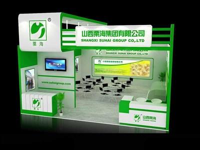 52平米展台设计制作:一面开口/前卫/木质结构/绿色,为食品展展商而作
