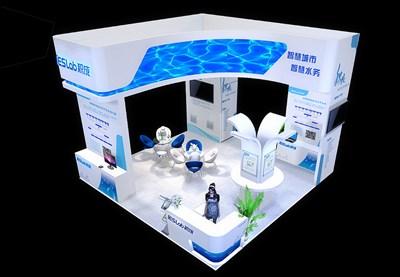 36平米展台设计制作:四面开口/前卫/木质结构/蓝色,为综合展展商而作