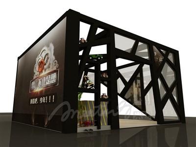 36平米展台设计制作:三面开口/现代/木质结构/黑色,为成就招商展展商